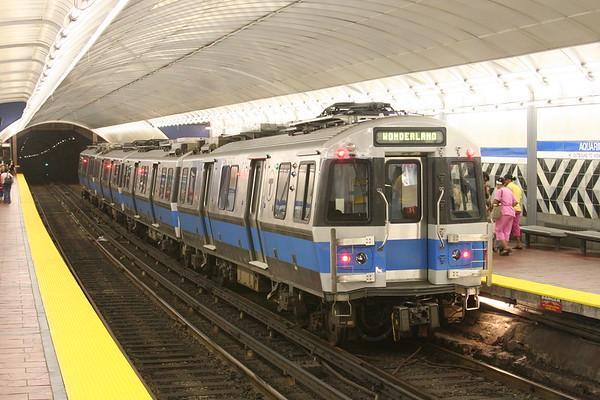 MBTA Blue Line service from Wonderland  to Bowdoin at Aquarium