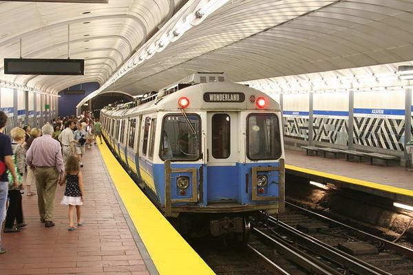 MBTA Blue Line service to Wonderland at Aquarium