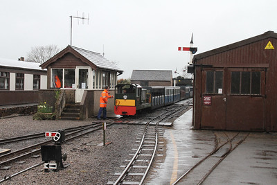 Ravenglass- the 1330 diesel from the country end approaches