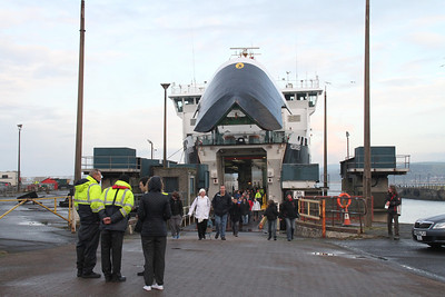 The Irish Pier and the foot passengers exit via the car deck.