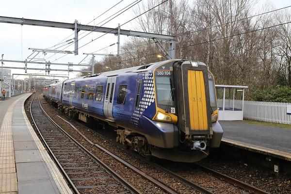380104 at Springburn for Queen St having traversed via Cumbernauld
