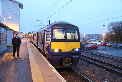 320412 will head for Balloch from the bay platform at Airdrie
