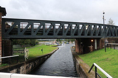 Bowling Harbour with the former Lanarkshire and Dumbartonshire Railway bridge crossing the route to the sea lock