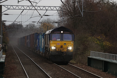 66109 approaches Wester Hailes with 4E98 Mossend - Tees 20 November 2020