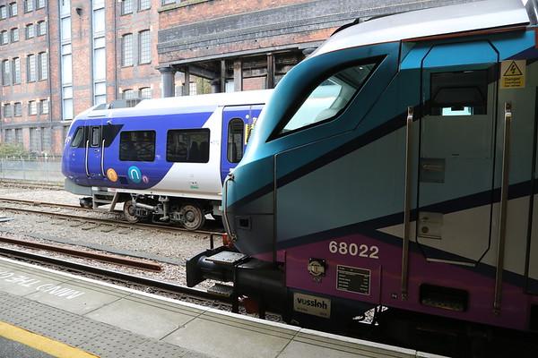 68022 and 195005 at Huddersfield