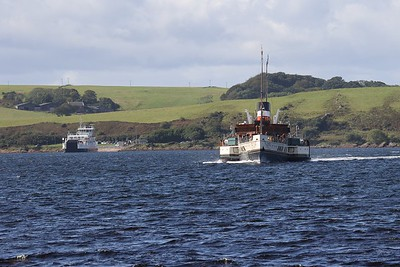 PS Waverley in the lead over Loch Shira approaching Largs