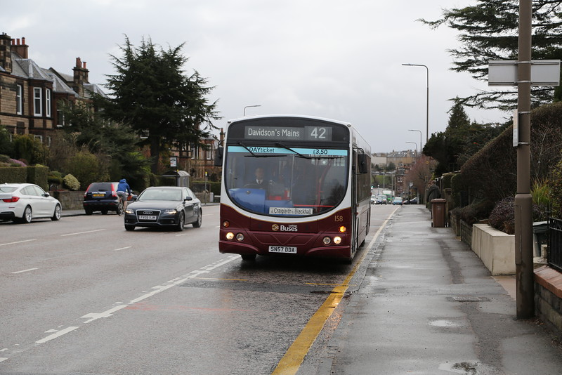 158 approaches the stop at Blackhall - just about to scratch in the right turn to Telford Road