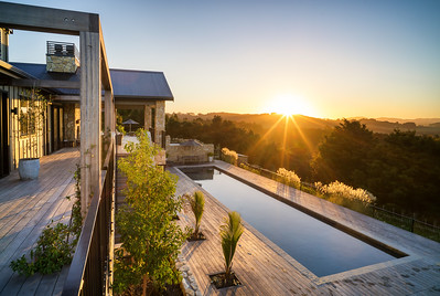 Sunset over Te Arai Lodge