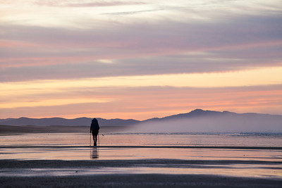 Tramper walks Te Araroa Trail at sunrise, Ninety Mile Beach/Te Oneroa-a-Tōhē, Northland