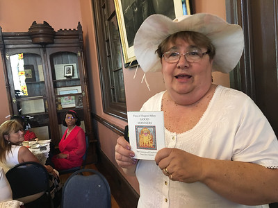 "Meredith Marcinkewicz of the Shirley Historical Society gave a multi-media presentation based on  the ""Finse of Dogton Abby Good Manners."" Photo by Mary Leach"