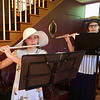 Kayla Lavoie and Autumn Dwyer play their flutes at the Billerica Historical Society's Vintage Tea. They are members of Flutes, Inc. Photo by Mary Leach