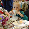 Maisie Douglas, 3, from Hudson, NH, sipped lemonade at the Billerica Historical Society's Vintage Tea. Photo by Mary Leach