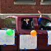KRISTOPHER RADDER — BRATTLEBORO REFORMER<br /> Students of St. Michael's Catholic School, in Brattleboro, Vt., drive by the school to share messages of missing their teachers who were waiting outside for them during Teacher Appreciation Week on Friday, May 8, 2020. The school has been closed because of the COVID-19 pandemic.