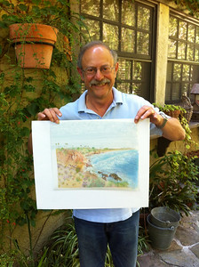 Don  with his Colored Pencil landscape that is on both sides of Grafix Dura-lar Matte Film