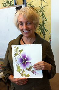 Bonnie and her botanical Watercolor of a 'Malba Sylvestris' flower
