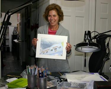 Kristine with another of her colored pencil drawings