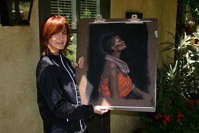 Barbara working on her Pastel painting