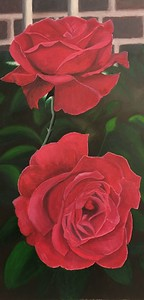 """Gordon's oil painting """"Two Roses in the Garden"""""""