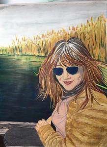 Victoria's self portrait in colored pencil