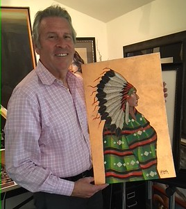Phil with his version of Morgan's painting YOUNG CHIEF which he admired.