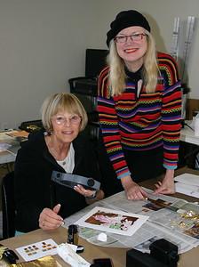 Morgan teaching Sue Gold leafing at the Palos Verdes Art Center.
