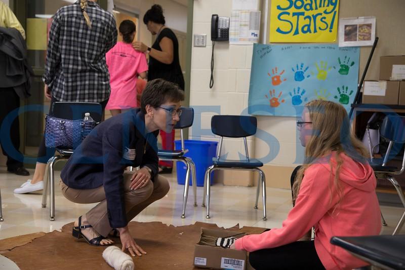 Summer 2017 Soaring Stars Program Photos by Ben Gajewski. President Denise A. Battles with Soaring Stars Students