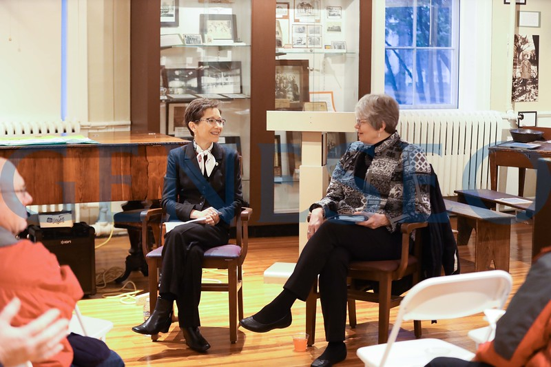 President Denise Battles and Village Mayor Margaret Duff host a community chat on 11/14/18
