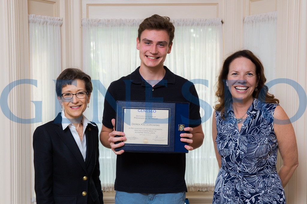 Derek Kaczorowski with President Denise Battles and Provost Stacey Robertson Presidential Scholars Reception at the President's Residence KW