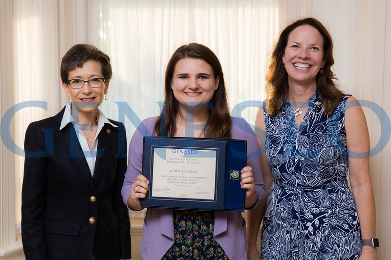Jenna Lawson with President Denise Battles and Provost Stacey Robertson Presidential Scholars Reception at the President's Residence KW