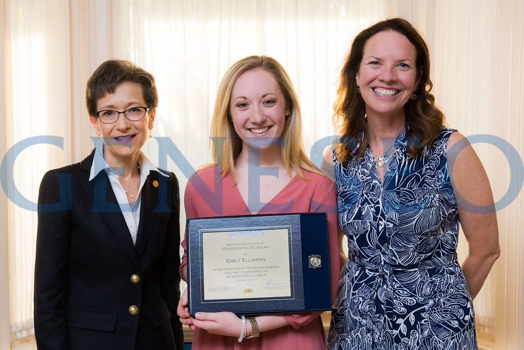 Emily Ellmann with President Denise Battles and Provost Stacey Robertson Presidential Scholars Reception at the President's Residence KW