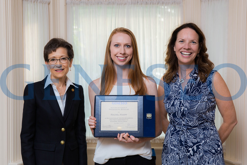 Rachel Knapp with President Denise Battles and Provost Stacey Robertson Presidential Scholars Reception at the President's Residence KW