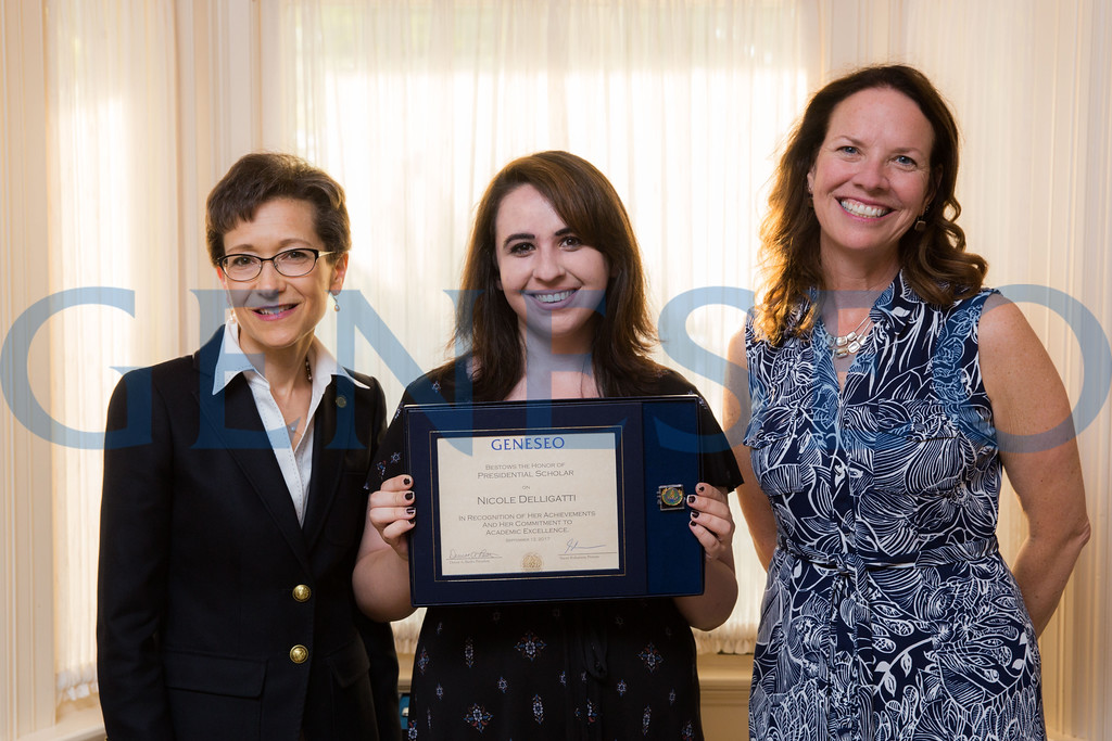 Nicole Delligatti with President Denise Battles and Provost Stacey Robertson Presidential Scholars Reception at the President's Residence KW