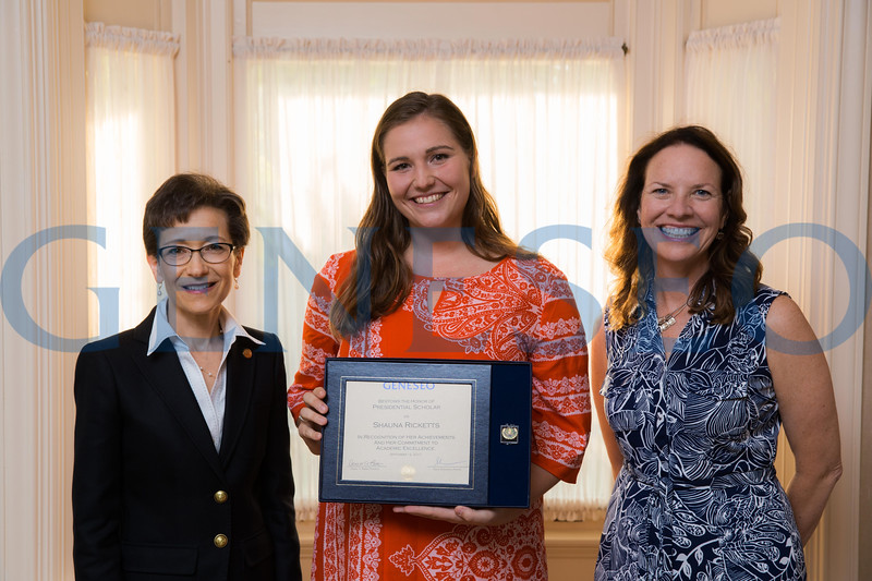 Shauna Ricketts with President Denise Battles and Provost Stacey Robertson Presidential Scholars Reception at the President's Residence KW