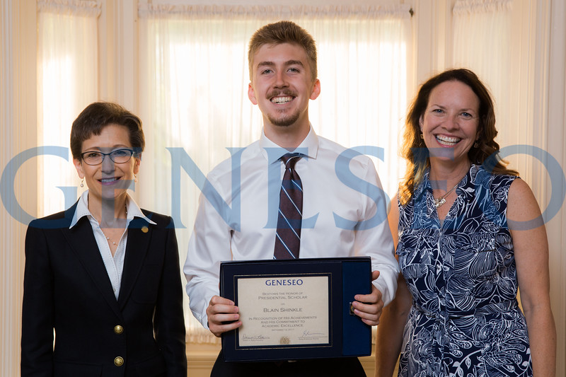 Blaine Shinkle with President Denise Battles and Provost Stacey Robertson Presidential Scholars Reception at the President's Residence KW