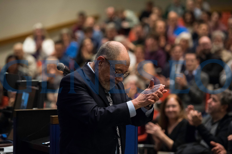 SUNY Geneseo professor Ron Herzman  delivers his Farewell Lecture in Newton Hall April 13, 2018.  // photo by J. Adam Fenster