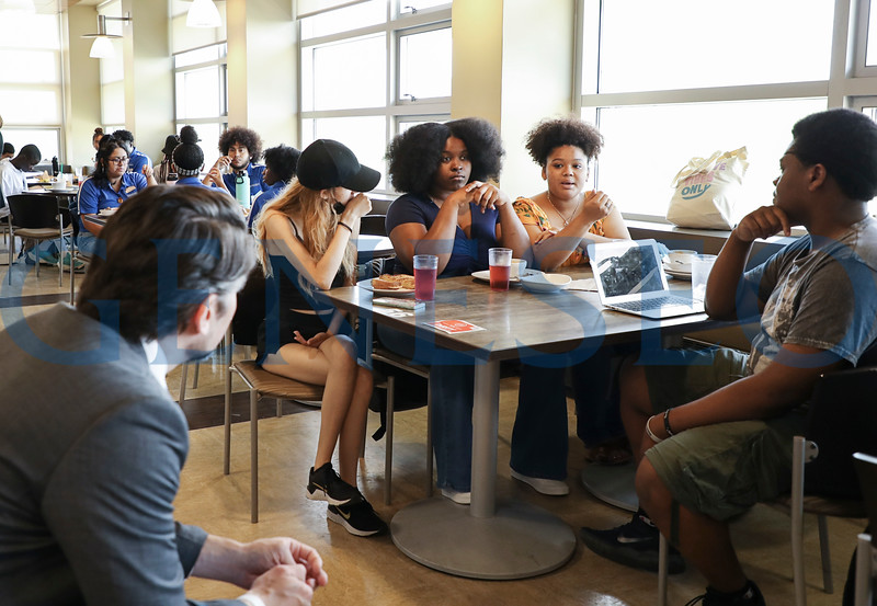 SUNY Chancellor Jim Malatras visits the summer AOP program. Photos by Carole Volpe.