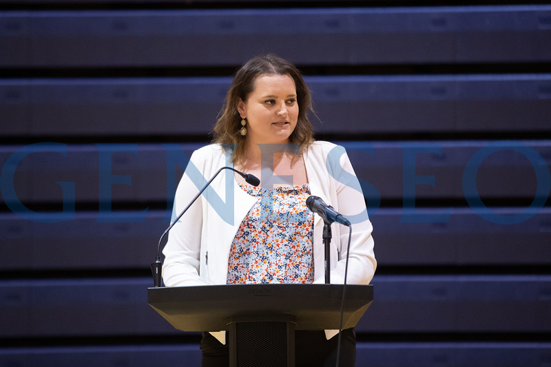 Women's basketball head coach Alyssa Polosky speaks at the Savannah Williams Memorial Highway Dedication Event.