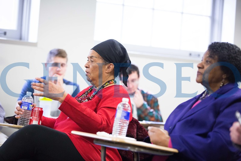 colia lidell clark purple and dorie ladner red civil rights activists visiting campus  for black lives matter panel and classroom presentations
