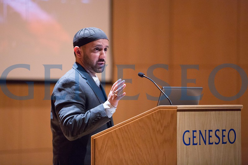 Imam Khalid Latif, executive director and chaplain for the Islamic Center at New York University, delivered SUNY Geneseo's 2017 MacVittie Lecture Nov. 14 at 7 p.m. in the Doty Hall Recital Hall. Photo by Keith Walters