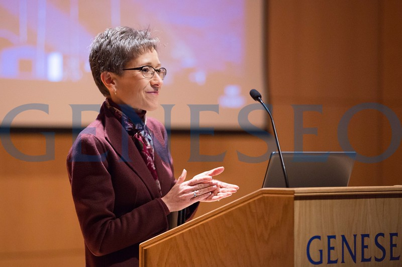 President Denise Battles introduces Imam Khalid Latif, executive director and chaplain for the Islamic Center at New York University, delivered SUNY Geneseo's 2017 MacVittie Lecture Nov. 14 at 7 p.m. in the Doty Hall Recital Hall. Photo by Keith Walters