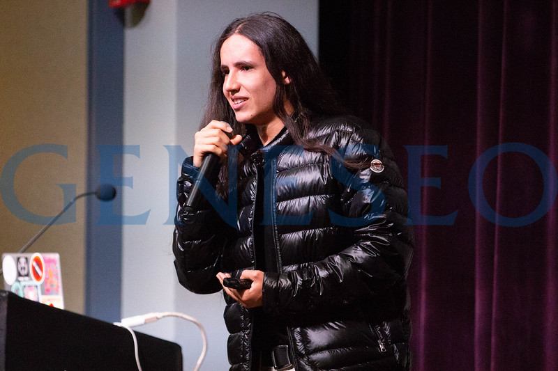 Xiuhtezcatl Martinez, indigenous activist and hip hop artist, delivers the 5th annual President's Sustainability Lecture. Photos by Keith Walters '11