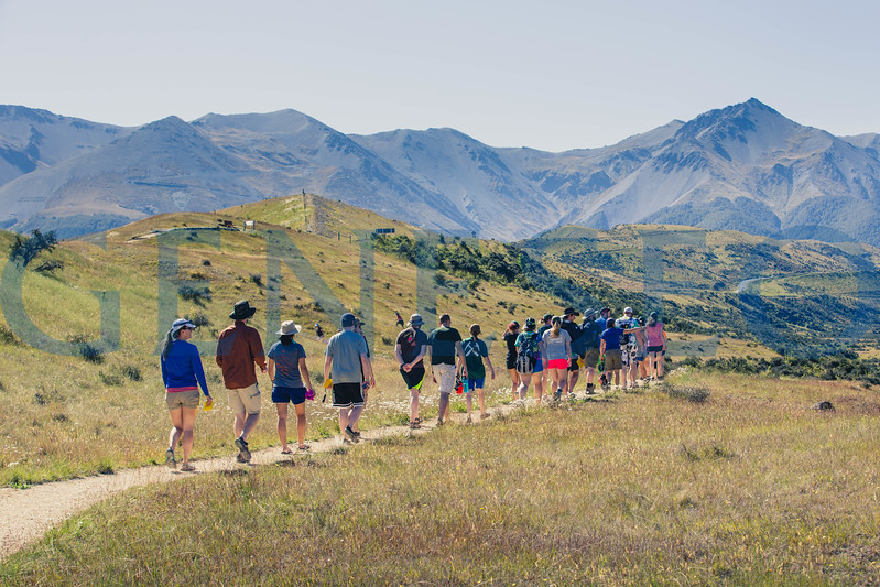 Students hike Cave Stream just outside Flock Hill Station and Castle HIll Village, New Zealand.