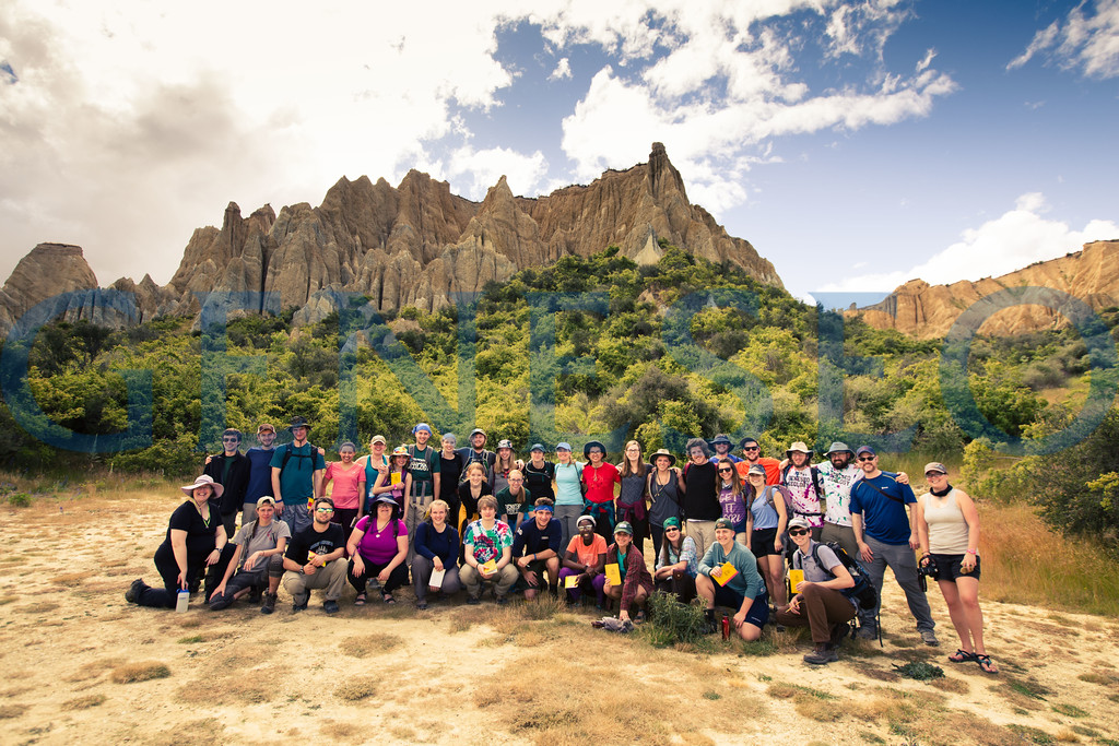 Geology field studies group visits the clay cliffs on the south island