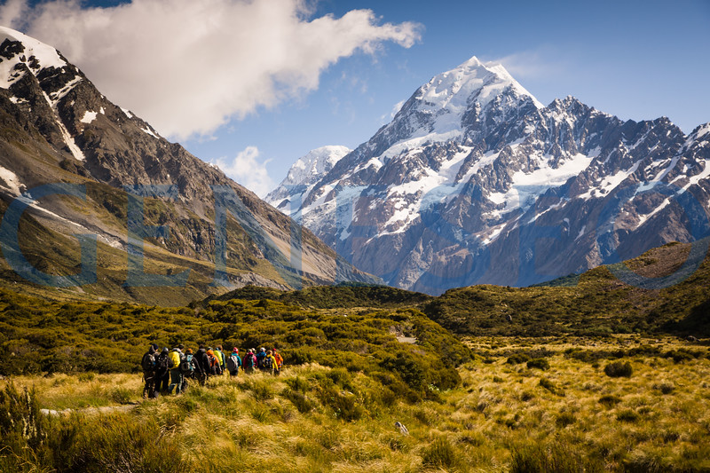 Students hike the Mount Cook Pass on the South Island