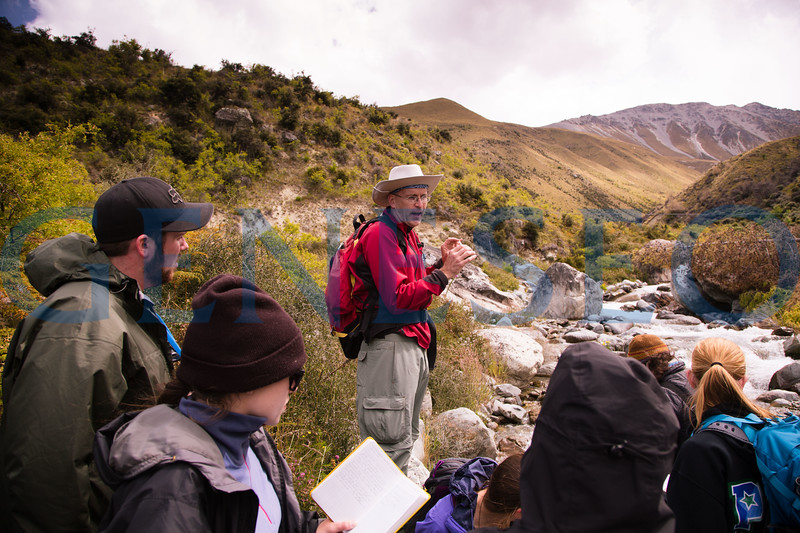 Geology field studies group maps out terrain of an alluvial fan.