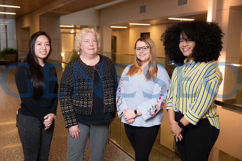 Left to right: Vivian Ye '19, Ganie DeHart, Nicole Spencer '19, Vanessa Cepeda '19