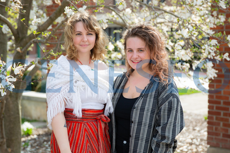 Isabel Owen (black shirt) and Cate Shields portrait fulbright spring 2019 KW