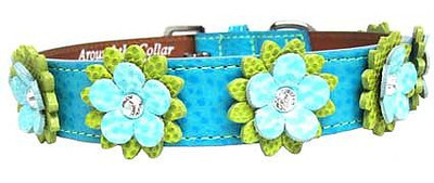 Flower Leather Dog Collars