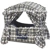 "Canopy Dog Bed. Teacup and Toy Puppy or Dog<br /> Our luxury dog beds are designed to match the decor of your home.<br /> STYLE: Navy Blue Plaid <br /> <br /> This Canopy Dog Bed will give your pet the feeling of security that only a safe ""den"" can provide. <br /> Easy to assemble without tools. <br /> Covers can be removed and machine washed. The inner-pillow is zippered in case the fiber ever needs changing. The soft bumper pads protect the pet and even provide a soft resting place for their heads at the front door. <br /> <br /> -1 steel hinged bottom/side support <br /> -2 canopy support rods <br /> -4 individual foam bumper pads <br /> -1 foam mattress pad <br /> -1 pillow stuffed w/acrylic fiber <br /> -1 bumper pad cover with 4 individual <br /> zippered compartments for foam <br /> -1 Mattress cover with zipper <br /> -1 Canopy cover with drapes & tie-backs <br /> -2 handle covers <br /> <br /> Measures 27"" x 17""."