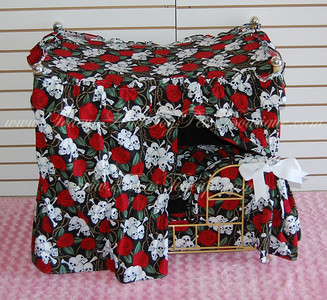 ITEM NAME: Biker Skull Rose SHORT DESCRIPTION: Black with Red Flowers and Skulls comes with Tan Bed Frame PRICE: $600.00 COLOR: Black, Red, and White